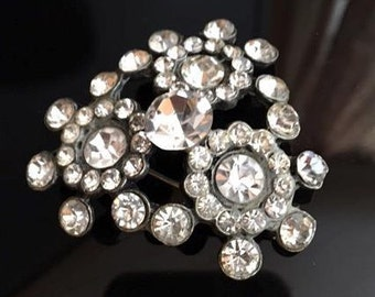 Large 1950s Vintage Rhinestone Brooch Triangle Shape Round Clear Faceted Glass Rhinestones 50s Pot Metal Brooch Pin