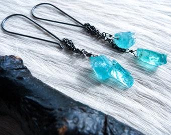 SEMI-ANNUAL SALE Raw apatite earrings | Rough apatite earrings | Apatite dangle earrings | Crystal earrings | Raw stone earrings | Gypsy ear