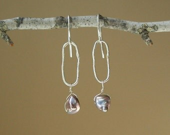 Silver Blue Keshi Pearl Oval Earrings - Peacock Pearl - Sterling Silver - Sterling Silver -Dangle - Rustic - Free Form - One of a Kind