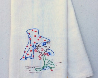Vintage Embroidered Towel Anthro Spanish Onion Dances