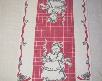 Vintage Broderie Towel Granny Carries in the Bird