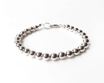 Bracelet - Sterling Silver Bead Bracelet - 6mm Beads - Everyday Wear - Sterling Ball Bracelet - Classic Silver Bracelet - 925