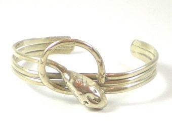 Snake Bracelet - Snake Cuff - Sterling Silver Snake Cuff Bracelet - Serpent Cuff Bracelet - Vintage Jewelry