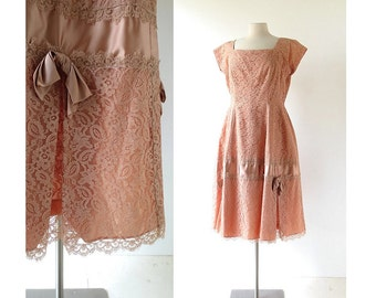 Vintage 50s Dress / Sepia Lace Dress / 1950s Party Dress / L XL