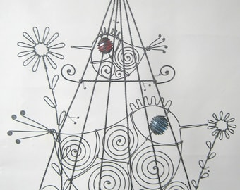 Wire Birdcage Sculpture With Two Birds And Two Flowers, Sculpture Fil De Fer