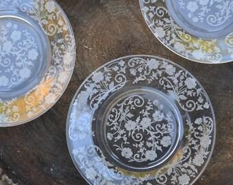 Set of 7 Floral Glass Dessert Plates