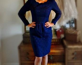Vintage Blue Polka Dot Wiggle Dress - Size S