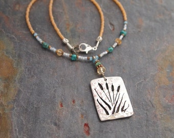Gemstone and Cattails Necklace