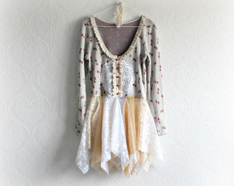 Cherry Print Shabby Tunic Top Women's Boho Top Layer of Lace Country Style Upcycled Clothing Scoop Neck Fit Flare Shirt Eco Clothes S 'ALLY'