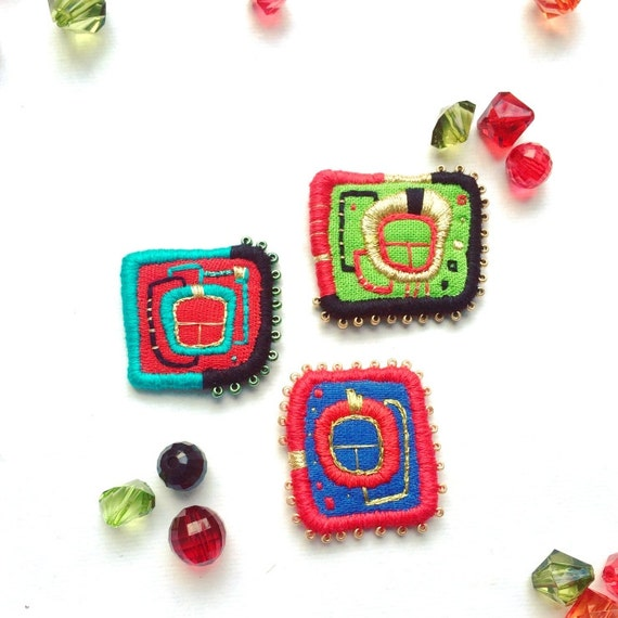 Textile Brooch - Hundertwasser Window, hand embroidered wearable art, unique jewellery gift. Embroidery patch.