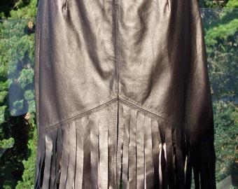 Bronze Brown Leather Fringe Skirt size M / L