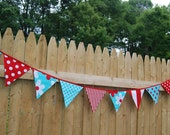 RED, AQUA Girl's Baby Shower, Party Banner Decoration, Fabric Nursery Bunting, Pennant Flags, Photo Prop -- turquoise, teal, white