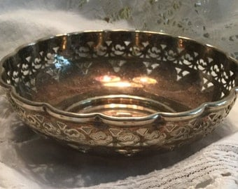 Hallmarked James E Bushell Silverplate Scallop Rimmed Bowl Made in England Dish Cut Outs Tarnished