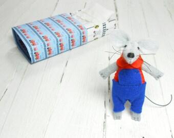 Felt animals Christmas stocking stuffer hand made dolls small wool matchbox mouse doll  pre teen gift Kids gift daughter blue