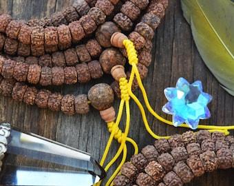 Lord Shiva Tears: 10mm Natural Rudraksha Seeds, 108 beads, Rondelle Rudraksha Beads  / Yoga Jewelry, Prayer Beads, Tribal Ethnic Jewelry