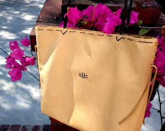 """Pale Yellow Italian Leather Cross Body Tote """"Giulia"""" Hand-stitched"""