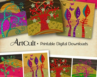 Printable digital download MAGIC TREES 3.8x3.8 inch images for Coasters Greeting cards magnets gift tags home decor paper craft Art Cult