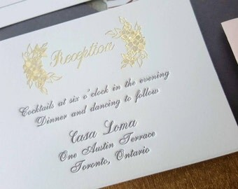 English Garden Wedding Invitation with charcoal letterpress and gold foil DEPOSIT