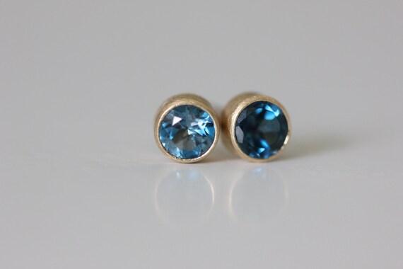London Blue Topaz Stud Earrings - Recycled 14k Gold Studs - Brushed Modern Earring - Blue Topaz Earring - Matte Finish Earring Stud