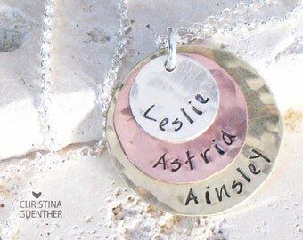 Color Cascade Personalized Hand Stamped Necklace | Mommy Jewelry | Childrens Names | Mixed Metals | Handmade  Christina Guenther