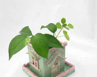 Ceramic Planter handbuilt  Whimsical Cottage  ooak garden gift home decor sculpture house plant claysoul pink green