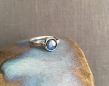 Kyanite Ring - Size 8.25 - Natural Gemstone Jewelry - Modern Silver Ring - Silver Kyanite Ring - Blue - Minimal Ring - Denim Blue - Kyanite