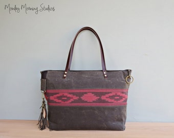 Personalized Red Aztec Tote, Waxed Canvas Zipper Tote Bag with Boho Tribal Southwest Accent, Ruby Red Carryall, Bag with Leather Straps, USA