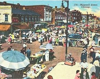 Chicago Vintage Postcard - The Ghetto Market on Maxwell Street (Unused)