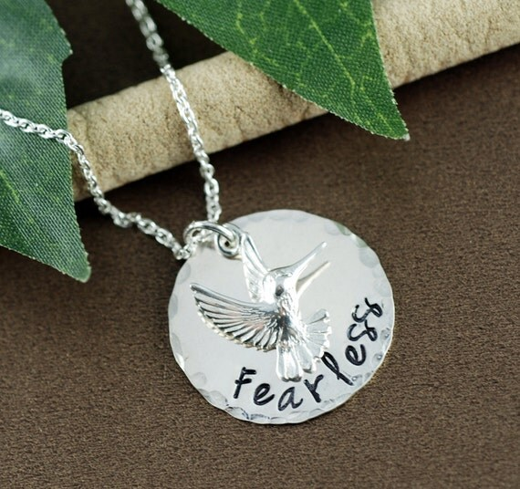 Fearless Necklace, Silver Hummingbird Necklace, Inspirational Jewelry, Motivational Necklace, Gift for Graduate, Gift for Daughter