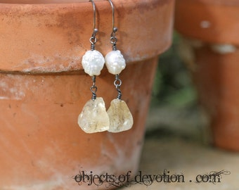 RADIANCE * Gorgeous Citrine & Drusy Pearl Earrings * Sterling Silver * Rustic Romance * Artisan Gemstone Drops * Boho Chic * Gift for Her *