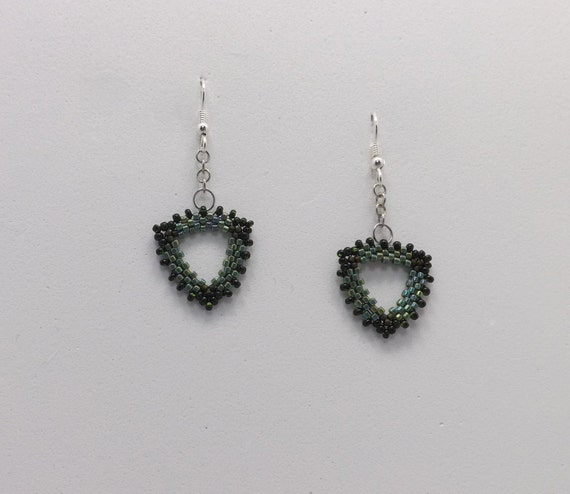 Olive Green and Black Triangle Peyote Stitch Beaded Earrings with French earwires Sku: ER1020