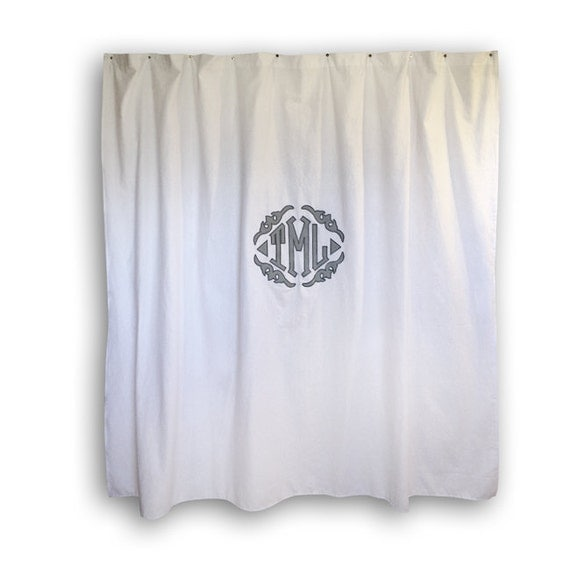 monogrammed applique shower curtain