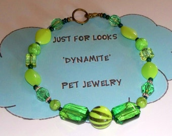 Pet Jewelry - Dog Necklace - Necklace - Pet Accessories - Lime Green Acrylic Bead Necklace - Just for Looks Dynamite Pet Jewelry - Donate