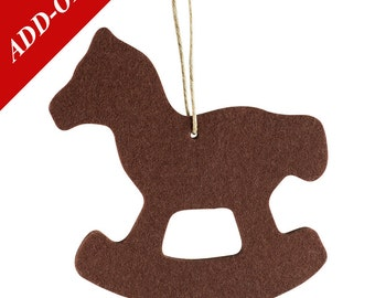 Wool Felt Rocking Horse Ornaments - Natural Off-White or Brown, Multiple Pack Sizes Available, Add-On Item, Christmas Decoration