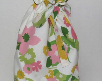 Drawstring Bag, Lined Travel Bag, Project Pouch, Shoe Tote, Up-cycled Vintage Sheeting