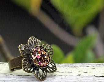 Faux Druzy Flower Ring, Brass Filigree Flower and Glitter Resin Adjustable Ring, Boho