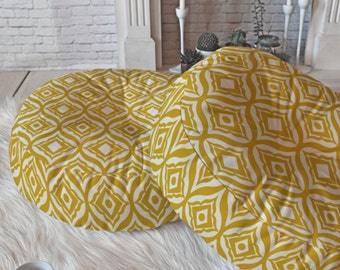 Comfy Floor Pillow // Round and Square Sizes // Dorm Decor // Modern Living // Home Decor // Trevino Yellow Design // Floor Cushion // Gold
