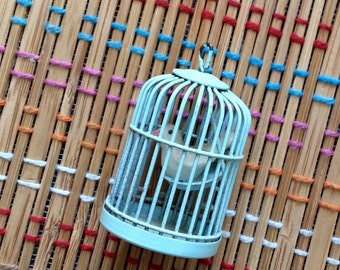 Sweet Bird in Cage:  Vintage Wire Pendant, R
