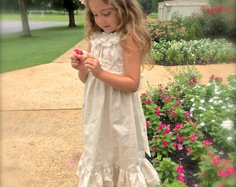 Wedding Special Occasion Ivory and Lace Pintuck Vintage Style Flower Girl Sundress Size 3 months to Size 14