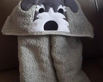 Schnauzer Hooded Bath Towel