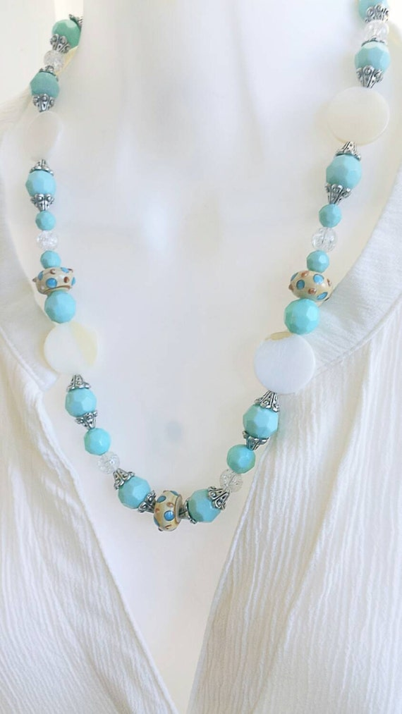 Mother of Pearl necklace, lampwork bead necklace, glass bead necklace, pearl necklace, lampwork jewelry, shell necklace, pearl jewelry