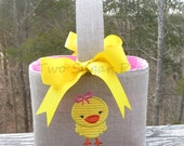 Personalized Easter Basket with Chicken Applique Easter baskets for girls