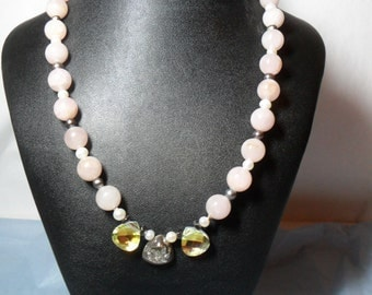 Pale Pink Rose Quartz and Freshwater Pearl Necklace (5/2016)
