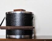 Vintage Kromex Ice Bucket, Chrome and Faux Reptile Skin, Mid Century Ice Bucket, Modern Ice Bucket, Wood, Chrome, Faux Retile Skin