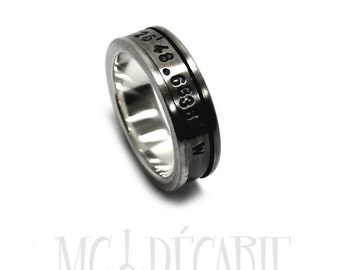 Spinner ring 7mm; 4mm spinner in solid sterling silver, brushed spinner ring, can add custom text on the spinner or engraving inside