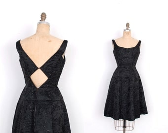 Vintage 1960s Dress / 60s Beaded Floral Satin Party Dress with Back Cutout / Black (small S)