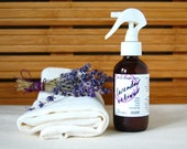 organic Lavender Vetiver linen spray - a calming spray, for pillows, linens, rooms, body, and hair (4 oz atomizer)