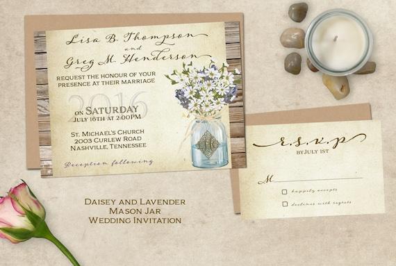 Cottage Mason Jar Wedding Invitation: Rustic Wedding Invitation Mason Jar By SugarSpiceInvitation