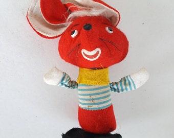 Vintage 1950s Stuffed Dream Pets R. Dakin & Co. Red Sleep Mouse