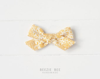 """The Schoolgirl Bow in """"Vintage Goldenrod"""" - Hand Tied Fabric Bow - Babies, Toddlers, Girls - Nylon Headband or Clip"""